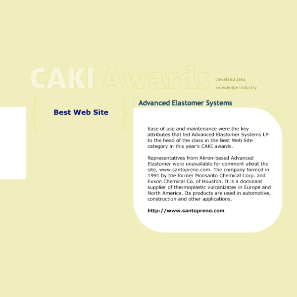 """CAKI"" Award - Cleveland Area Knowledge Industry Award - 2003"