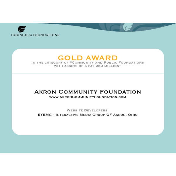 Council on Foundations Wilmer Shields Rich Awards Program (Gold) - 2005