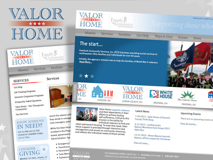 Website & logo design for Veteran's Housing Organization - Valor Home