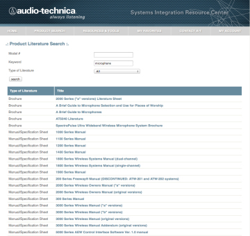 Audio-Technica System Integrator Resource Center Extranet