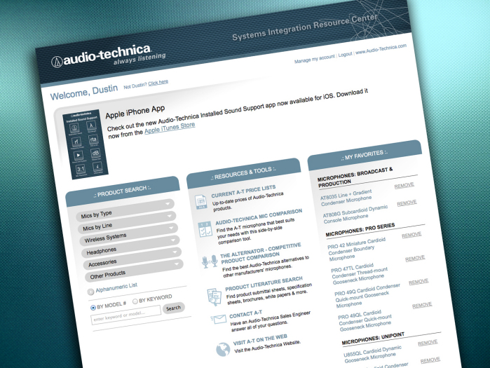 Extranet for System Integrators - Audio-Technica US