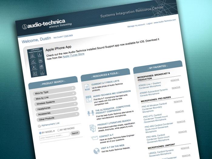 Extranet for System Integrators - Audio-Technica US