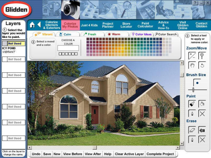 Interactive color picker for glidden paint eyemg web for Paint your home online