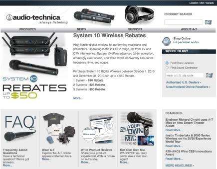 Audio-Technica US Responsive Website