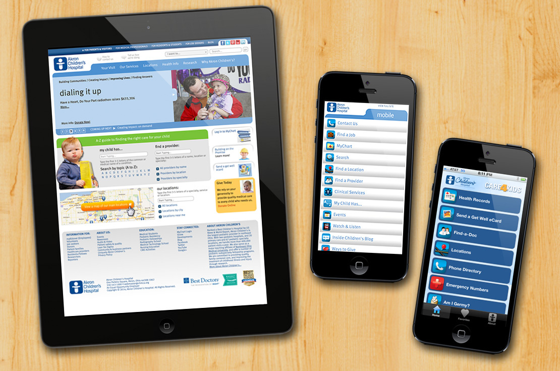Akron Children's Hospital website, mobile site, iPhone and Android apps
